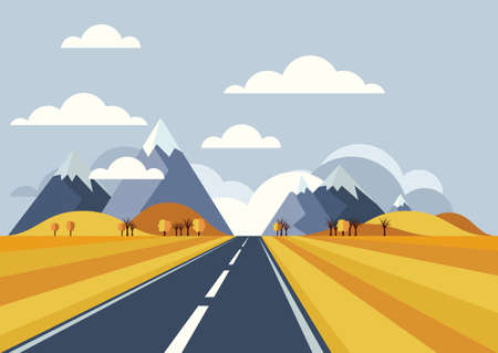 road travel: Vector landscape background. Road in golden yellow wheat field, mountains, hills, clouds on the sky. Flat style illustration of autumn nature.