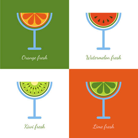 grapefruit juice: Set of vector sliced fruits in glass. Fresh juice of watermelon, orange, kiwi, lime, lemon, grapefruit. Abstract flat logo design template. Healthy and natural organic food and drinks. Illustration