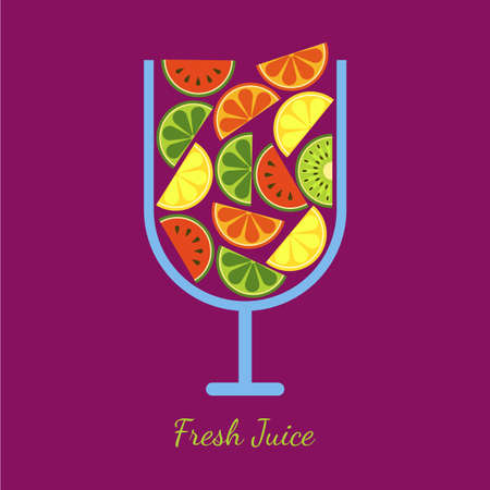 grapefruit juice: Vector sliced fruits in glass. Fresh juice of watermelon, orange, kiwi, lime, lemon, grapefruit. Abstract flat illustration design. Healthy and natural organic food and drinks.