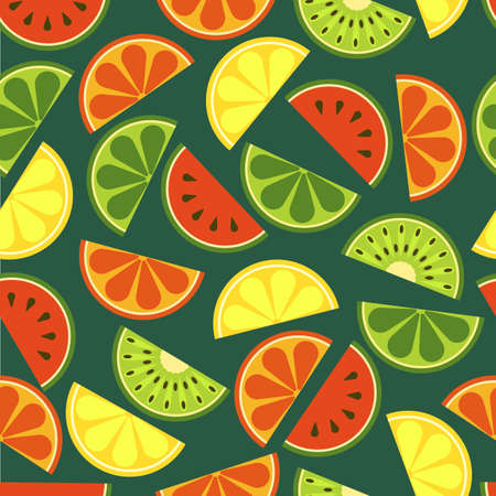 lemon lime: sliced fruits seamless pattern. Fresh of watermelon, orange, kiwi, lime, lemon, grapefruit on green background. Abstract flat illustration design. Healthy and natural organic food. Illustration