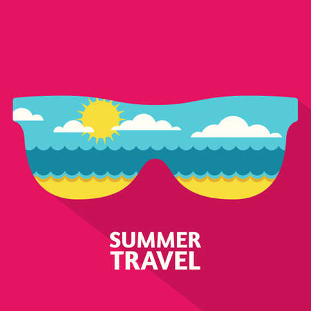 beach panorama: summer travel colorful abstract background with place for text. Blue sea, sun, clouds and sand beach in sunglasses shape. Flat design illustration.