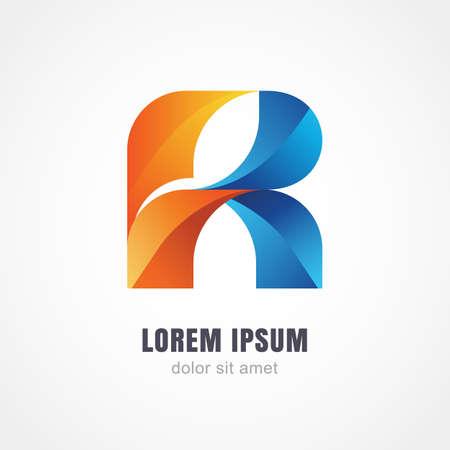 Abstract veelkleurige logo design. Letter R van verwevenheid regenboog linten, op een witte achtergrond.