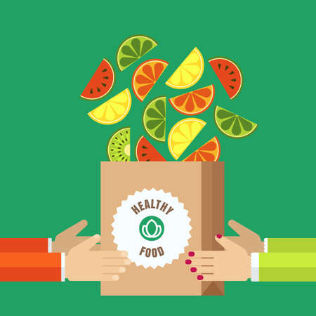 watermelon woman: Shopping bag with sliced fruits in human hands.  icons of watermelon, orange, kiwi, lime, lemon. Abstract flat design. Healthy and natural organic food and drinks, eco or vegetarian shop. Illustration