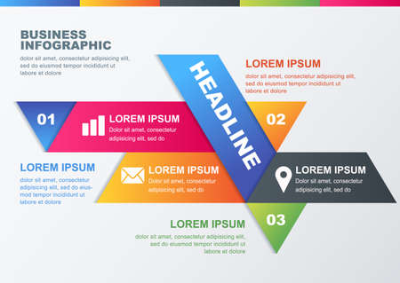 magazine design:  business infographic design template. Concept for brochure, flyer, poster. Multicolor geometric polygonal material background with place for text.