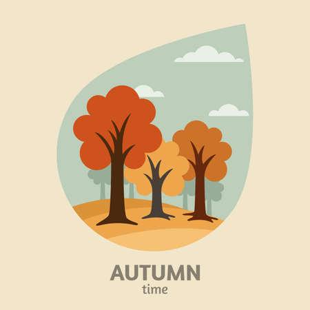 yellow landscape:  autumn landscape background. Yellow trees park in leaf shape or rain drop shape.