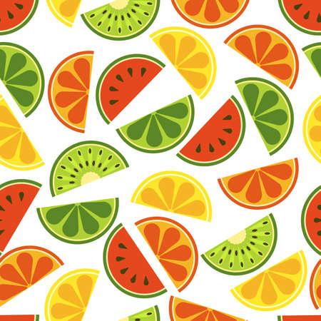 toronja: frutas en rodajas sin patr�n. Fresca de sand�a, naranja, kiwi, lima, lim�n, pomelo en el fondo blanco. Ilustraci�n plana. Comida org�nica sana y natural.