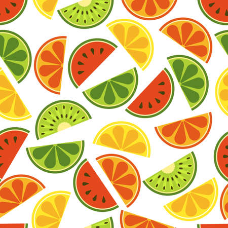 sliced watermelon:  sliced fruits seamless pattern. Fresh of watermelon, orange, kiwi, lime, lemon, grapefruit on white background. Flat illustration. Healthy and natural organic food.