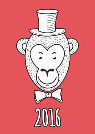 aristocrat: hand drawn face of elegant fashionable monkey aristocrat. 2016 Happy New Year greeting card. T-shirt print design illustration. Illustration
