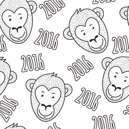 monkey face:  seamless hand drawn pattern. Smiling monkey face and text 2016. New Year black and white sketch background.