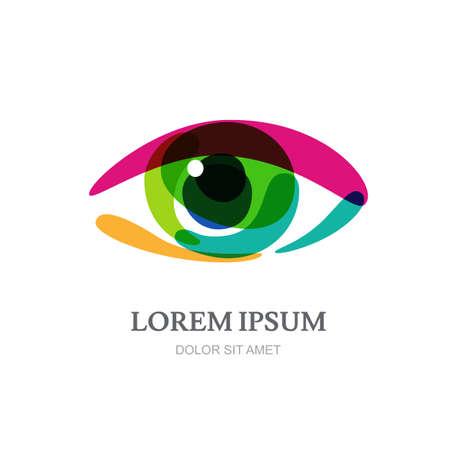 oculista: Arco iris del ojo multicolor, plantilla abstracta. Concepto de diseño de óptica, tienda de gafas, oculista, oftalmología, estilista de maquillaje, buscar, circuito cerrado de televisión, la investigación.
