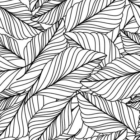 hand drawn doodle leaves seamless pattern. Abstract autumn black and white background. Nature organic line illustration.