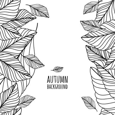 hand drawn doodle leaves seamless background. Abstract autumn black and white frame. Nature organic line illustration.