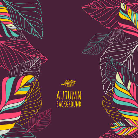 seamless background with multicolor hand drawn decorative leaves. Abstract autumn doodle frame. Nature organic illustration. Ilustracja