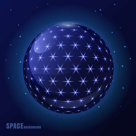 business space: Abstract  blue sphere with shining stars, futuristic background. Design concept for business, brochure, flyer, poster, presentation, modern technology. Space illustration.