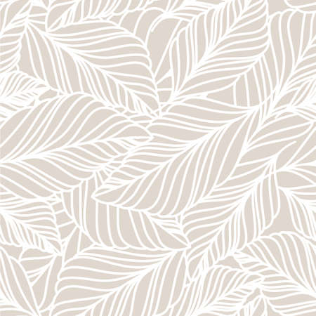 plant hand: Vector hand drawn doodle leaves seamless pattern. Light pastel beige background. Autumn nature illustration.