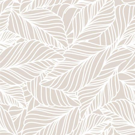 pflanzen: Vector Hand gezeichnet Doodle Blätter nahtlose Muster. Hellen Pastell beige Hintergrund. Herbst Natur Illustration.