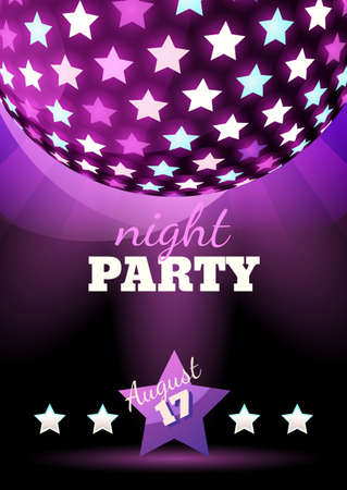 party night: Vector abstract night club party background. Sphere with shining stars illustration. Design concept for flyer, poster, cocktail party, disco, celebration. Illustration