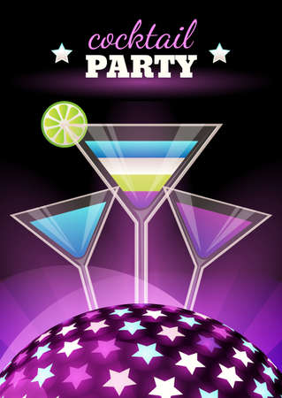 party night: Vector abstract night club party background. Sphere with shining stars and three multicolor coctails illustration. Design concept for flyer, poster, disco, celebration, menu. Illustration