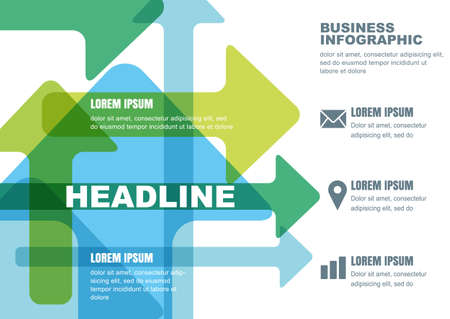 green arrows: Vector business infographic design. Template for brochure, flyer, poster. Colorful blue and green arrows background with place for text. Illustration