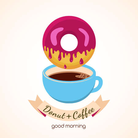 coffee and cake: Vector illustration of coffee cup and donut with pink sweet cream. Abstract logo design concept for cafe, restaurant, breakfast menu, desserts, bakery.