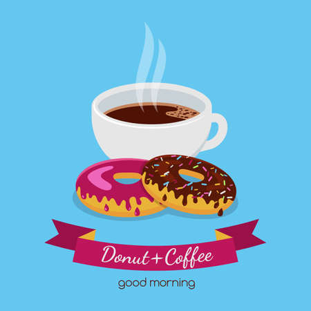 Vector food illustration of coffee cup and two donuts with chocolate and pink sweet cream. Abstract design concept for cafe, restaurant, breakfast menu, desserts, bakery.
