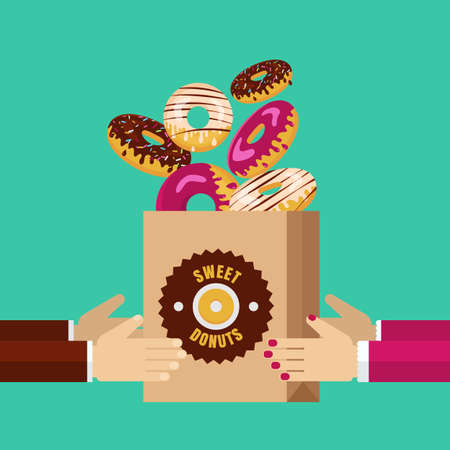 donut shop: Man and woman hands carrying paper pack with chocolate, white and pink sweet donuts. Vector food flat illustration. Abstract concept for cafe, restaurant, breakfast menu, desserts, bakery.
