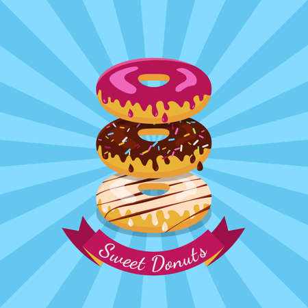 unhealthy food: Vector illustration of chocolate, white and pink sweet donuts. Food flat illustration background. Abstract concept for cafe, restaurant, breakfast menu, desserts, bakery. Flyer, poster, banner design.