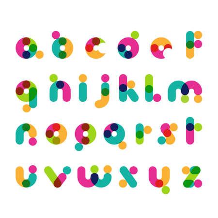 girotondo bambini: Simboli moderni tondo colorato di font. Alfabeto decorativo latino. Vector logo modello di progettazione.