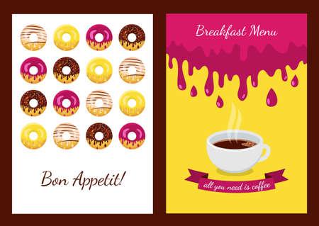 capuchino: Conjunto de vectores de fondo con donuts. Concepto abstracto para cafetería, restaurante, menú de desayuno, postres, panadería. Folleto, cartel, bandera, diseño de envases. Food ilustración plana.