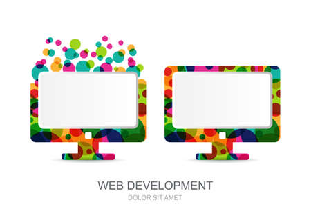 internet logo: Vector computer monitor icon built from colorful circles. Abstract logo template. Concept for mobile app development, web design, internet technology. Illustration