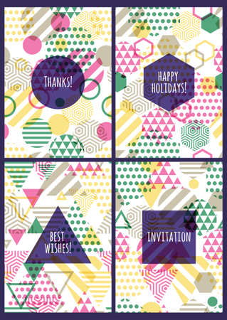 holiday invitation: Set of vector creative cards with seamless geometric pattern. Multicolor abstract background. Design concept for party invitation, birthday greeting card, wedding, anniversary, poster, flyer design. Illustration