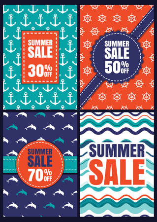 poster backgrounds: Set of vector summer sale design. Seamless abstract patterns and backgrounds with anchor, dolphin, wave, steering wheel. Concept for invitation, greeting card, poster, flyer design, shopping labels.