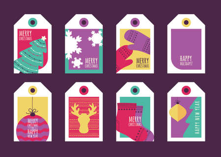 celebration event: Set of vector holiday gift tags. Happy New Year and Merry Christmas greeting cards. Hand drawn flat illustration of fir tree, deer, socks, champagne, snowflake, mittens, toys.