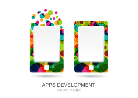 Vector mobile or tablet pc icon built from colorful circles. Abstract logo template. Concept for mobile app development, web design, internet technology.