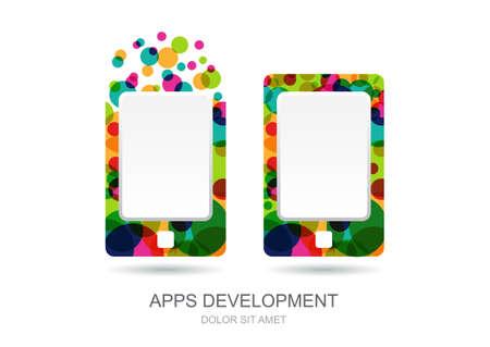 logo ordinateur: Vector ordinateur portable ou tablette icône construit à partir de cercles colorés. Résumé modèle de logo. Concept pour le développement d'applications mobiles, web design, la technologie de l'Internet. Illustration