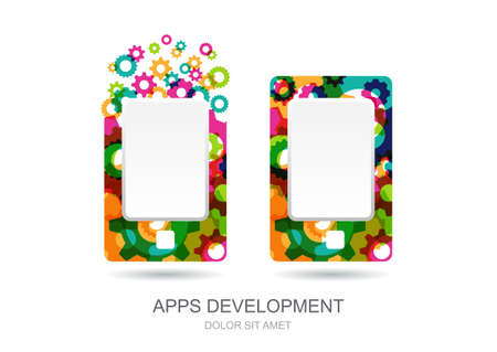 built: Tablet icon built from colorful gear cogs
