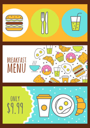 food icons: banners with food background