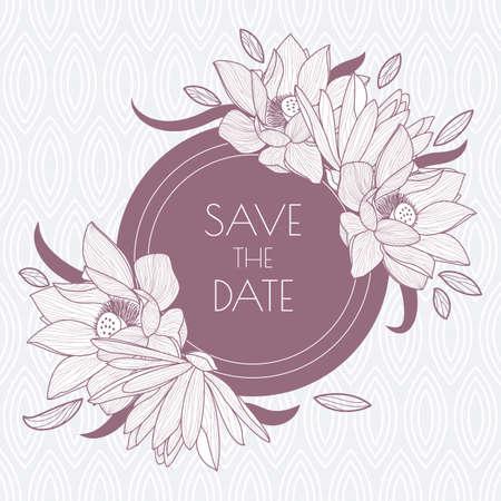 pink floral: round frame and seamless leaf pattern Illustration