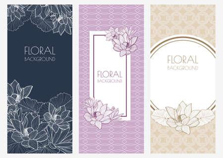 bloemenbanner achtergronden en naadloze patroon Stock Illustratie