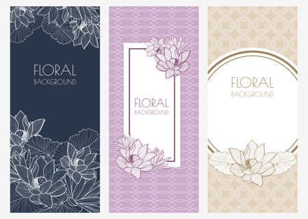 lotus: floral banner backgrounds and seamless pattern