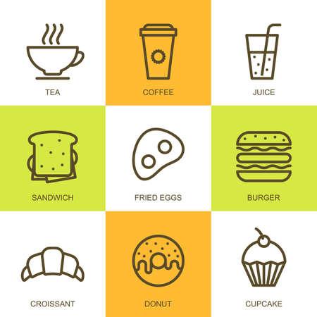 Prosty liniowy ilustracja jedzenie