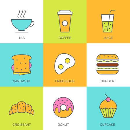 vector set: Set of vector flat food illustration. Breakfast multicolor icons, tea, coffee, juice, sandwich, fried egg, burger, croissant, donut, cupcake. Concept for breakfast menu, bar, cafe, restaurant.