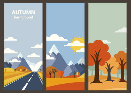 vintage travel: autumn landscape banner with place for text