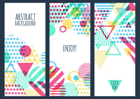 yellow green: Set of three creative banner background with multi color geometric pattern and place for text