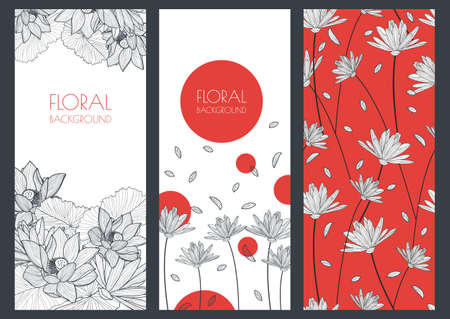 fashion: Set of vector floral banner backgrounds and seamless pattern. Linear illustration of lotus, lily flowers. Concept for boutique, jewelry, beauty salon, spa, fashion, flyer, invitation, banner design.