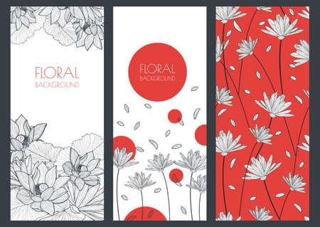 mode: Uppsättning vektor blommig banner bakgrunder och seamless. Linjär illustration av lotus, lilja blommor. Koncept för boutique, smycken, skönhetssalong, spa, mode, flygblad, inbjudan, banner design. Illustration
