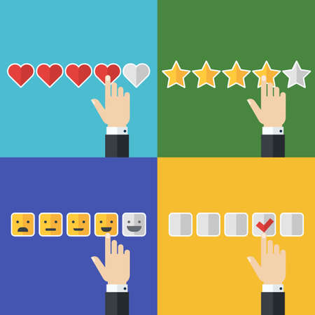 satisfaction: set of flat business icons