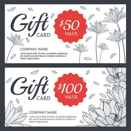 floral gift voucher or card background template 向量圖像