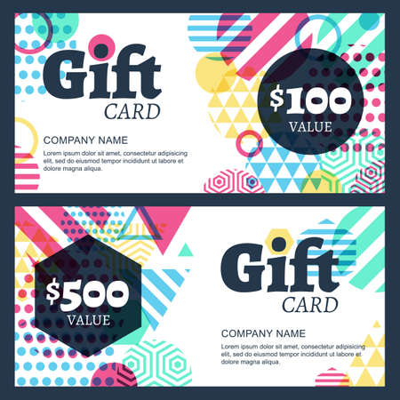 creative gift voucher or card background template Çizim