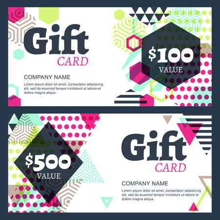 fashion jewelry: Vector creative gift voucher or card background template. Abstract colorful geometric pattern. Concept for boutique, fashion shop, accessorize, jewelry,  hotel, restaurant, flyer, banner design. Illustration